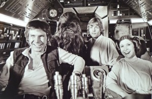 1976 Harrison Ford, Peter Mayhew, Mark Hamill, Carrie Fisher Source: KURTZ/JOINER ARCHIVE